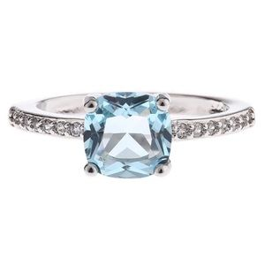 Dainty Aquamarine Cushion Cut & Diamond Ring